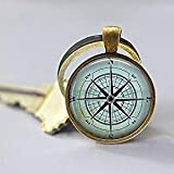 Nautical Compass Keychain, Compass Rose, Mariner's Compass, Sailing, Boating Key Chain
