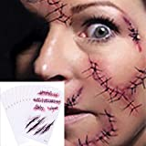 10 x Halloween Zombie Scars Tattoos Stickers with Fake Scab Blood Special Fx Costume Makeup Props