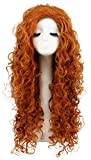 Karlery Women's Fluffy Long Curly Orange Wig Halloween Cosplay Wig Anime Costume Party Wig