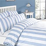 Louisiana Bedding Vertical Blue & White Stripe Duvet Cover Set 100% Cotton 200 Thread Count-King