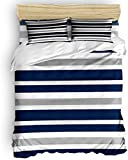Duvet Cover Set, 3 Piece Nautical Stripes Bedding Set - 1 Quilt Cover 2 Pillow Cases for...