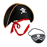 MAKFORT Fancy Dress Accessories Pirate Hat and Eye Patch Captain Costume Cap Halloween Masquerade...