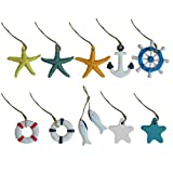 Happyyami 10pcs Nautical Hanging Decorations Sea Fish Star Nautical Wall Decor Hanging Gift Crafts