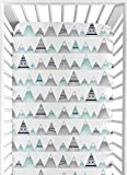 Navy Blue, Aqua and Grey Aztec Baby or Toddler Fitted Crib Sheet for Mountains Collection by Sweet...