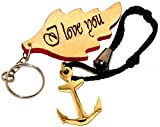 Sabri Home Gifts Hampten Nautical Solid Brass Navy Stockless Anchor Key Chain,Brass