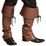 Boland Ryder 81999 Boot Warmers Brown with Laces, Buccaneer, Pirate, Boots, Leg Warmers, Leather...