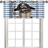 kitchen curtains valances Buccaneer Dog in Cartoon Style Costume Lil Pirate Striped Backdrop Funny...