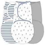 Amazing Baby Swaddle Blanket with Adjustable Wrap, Set of 3, Tiny Anchors, Stripes and Solid, Denim...