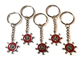 FizzyButton Gifts Set of 5 red Enamel Ships Wheel Sailing Boat keyrings for Birthday Party Bag...