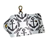 EZIOLY Graphic Flying Laurel Anchor PU Leather Car Key Chain Card Holder with 6 Hooks & 1...