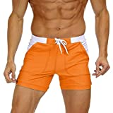EKLENTSON Mens Swim Boxers Swimwear Swimsuits Solid Basic Trunks Board Shorts with Pockets Orange