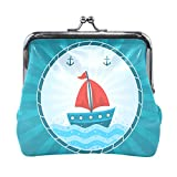BONIPE Nautical Anchor Sailboat Coin Purse Leather Mini Clutch Pouch Wallet for Women Girls