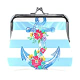 BONIPE Stipes Nautical Anchor Floral Print Coin Purse Leather Mini Clutch Pouch Wallet for Women...