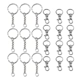 TRIXES Pack of 20 Silver Detachable Swivel Lobster Clasps and 30PC Key Chain Replacement Keyrings