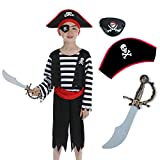 Sincere Party Children's Pirate Costume with Hat,Sword,Eyepatch for Unisex Kids 3-4years