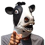 CreepyParty Deluxe Novelty Halloween Costume Party Latex Animal Head Mask Cow