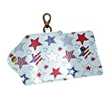 EZIOLY American Stars and Stripes PU Leather Car Key Chain Card Holder with 6 Hooks & 1...