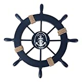 Rosenice Wooden Pirate Tiller Ship Wheel Wall Decoration with Anchor