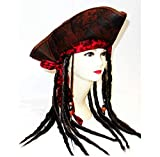 Stylex Party Ltd Pirate Hat with Dreadlocks Fancy Dress Costume Caribbean Captain Hat Costume