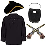 ADULTS PIRATE COSTUME ACCESSORIES SET FOR MEN. TRICORN PIRATE HAT + BLACK GOTHIC PIRATE SHIRT WITH...