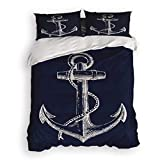 4 Pcs Bedding Set-Nautical Anchor Navy Blue Duvet Cover Set Ultra Soft and Easy Care Sheet Quilt...