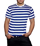 Angies Mens Stripped Top Shirt Stag Do Fancy Dress short Sleeve Cotton Stripe T-shirts (X Large,...