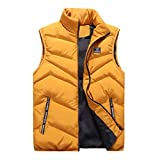 LOPILY Men's Winter Gilet Vest Full Zip Solid Color Sleeveless Coats Thick Warm Quilted Coat Down...