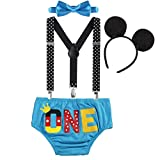 Toddler Kids Baby Boy 1st First Birthday Cake Smash Outfit One Year Party Mouse Costume Y-Back...
