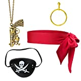 Haichen Pirate Costume Accessories Head Tie Headbands Headwrap Bandana Pirate Eye Patch Gold Earring...