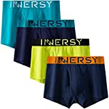 INNERSY Mens Underwear Trunks Multipack Fly Opening Boxer Shorts Cotton Underpants 4 Pack (M,...