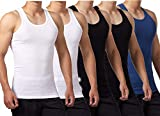 FALARY Mens Vest Tops Pack of 5 Tank Tops Fitted 100% Cotton Basic Plain Color Underwear and Colours...