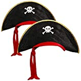 COM-FOUR® 2x pirate hat with skull - hat for children and adults - costume for Mardi Gras,...