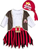 MOMBEBE COSLAND Toddler Girls Pirate Fancy Dress Costume (Pirate, 3 Years)