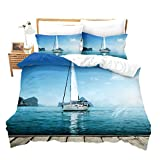 Nautical Comforter Set Blue Ocean Duvet Cover Set, Ship Boat Pattern on Beach, Soft Microfiber...