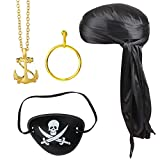 Beelittle 4 Pieces Halloween Pirate Costume Accessories Durag Long-Tail Headwraps Silky Pirate...