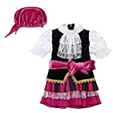 YOOJIA Kids Baby Girls Pirate Costume Halloween Festival Cosplay Party Fancy Outfit Black&Rose Red...