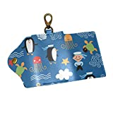 EZIOLY Cartoon Sea Sailor Anchor Animals PU Leather Car Key Chain Card Holder with 6 Hooks & 1...