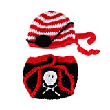 YeahiBaby Newborn Pirate Costume Knitted Animal Hat and Shoes Set Photography Props Christmas Decor
