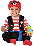 amscan 845922-55 Baby Pirate Costume with Red Velcro Bandana and Parrot Toy - Age 6-12 Months - 1...