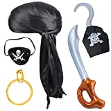 Haichen 5 Pieces Halloween Pirate Costume Accessories Durag Long-Tail Headwraps CapPirate Eye...