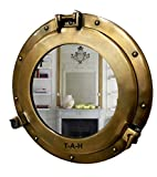 Antique Brass Mirror Porthole Wall Hanging Nautical Home Decorative