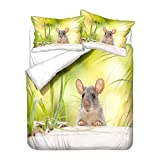 3D Animal Mouse Bedding set Cute Rat White Green Yellow Gray Duvet Cover Pillowcase Child Boy Girl...