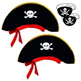 Tee-Moo 2 Pieces Pirate Hat and Eye Patch Skull Print Pirate Captain Costume Cap