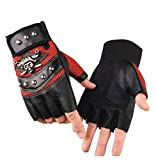 Fingerless Leather Cosplay Party Halloween Pirate Costume Cycling Driving Gloves - Red - One size