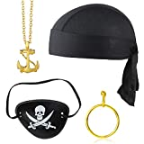 Beelittle 4 Pieces Captain Pirate Costume Accessory Set Doo Rag Skull Cap Pirate Eye Patch Gold...
