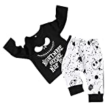 DaceStar 2PCs Outfits Newborn Toddler Baby Boy Girl Clothes Long Sleeve Letter Print T-Shirt + Skull...