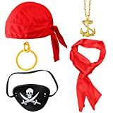 Haichen Pirate Costume Accessories Pirate Hat Red Renaissance Pirate Sash Eye Patch Earring Coins...
