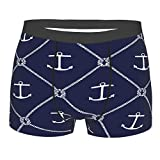 Navy Blue Anchors Men's Boxer Briefs All-Over Print Underwear Breathable Stretch Trunk