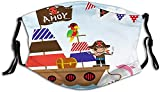 Ahoy Its a Boy Pirate Kids Treasure Chest with Ship on Ocean Background Illustration Mouth Face Mask...
