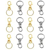 TRIXES 40 X Small Lobster Detachable Swivel Clasps for Key Split Ring Keychain – Silver and Gold